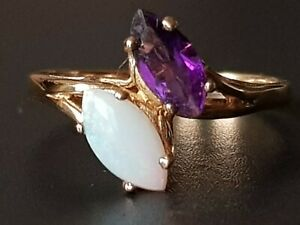 Vintage Opal Amethyst 9ct Gold Ring Size N