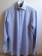 Camicia Uomo ALTEREGO Tg. 38/15 In Cotone 100%  Quadro Bianco E Celeste