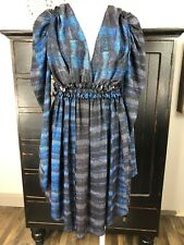 See By Chloe Womens 4 Blue Printed Long Sleeve V Neck Sheath Dress Q
