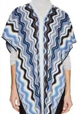 MISSONI Wool Stripe Zig Zag Poncho Shawl Sweater Shrug V Neck Sweater Blue Gold