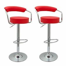 2x RED TOLEDO FAUX LEATHER BREAKFAST BAR STOOLS SWIVEL GAS LIFT CHAIRS