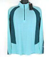 NEW Under Armour Mens Large L Aqua HeatGear 1/4 Zip Pullover Long Sleeve Top NWT