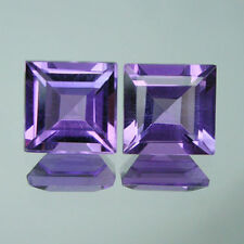A PAIR OF 5mm SQUARE-FACET DEEP-PURPLE NATURAL AFRICAN AMETHYST GEMSTONES