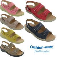 LADIES WHITE//BURGUNDY CUSHION WALK SLIP ON LIGHTWEIGHT SUMMER SHOE IN SIZES 3-8