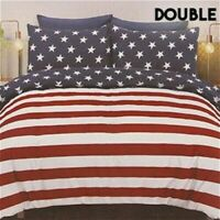 USA America Stars and Stripes Printed Double Duvet Bed Set With Pillows