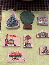 Cats Meow Village Accessories Tree, Pumpkin Wagon, Flowers and more. 8 pieces