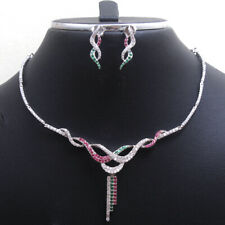 Ruby Emerald CZ Necklace Earring 3 piece Set 925 Sterling silver Jewelry