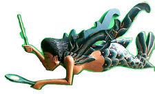 "Dewi Rice Goddess Flying Hanging Lady Hand Wood C+M 11"" BLUE Mermaid new style"