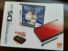 *NEW* Crimson/Black Nintendo DS Lite, Brain Age 2, and carrying case bundle