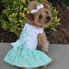 Doggie Design Turquoise Crystal Dog Dress & Matching Leash Sizes XS-S-M-L