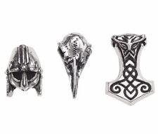 3 Norsebraid Hair Beard Beads Viking Mjolnir Raven Skull Alchemy Gothic ABR5