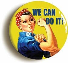 WE CAN DO IT BADGE BUTTON PIN (1inch/25mm diameter) WW2 LAND ARMY FEMINIST
