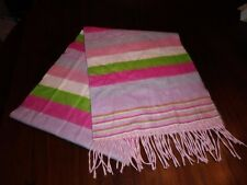 """Cashmere Neck Scarf Made in Scotland 3"""" Fringe Pink Green Gently Used 12x64"""