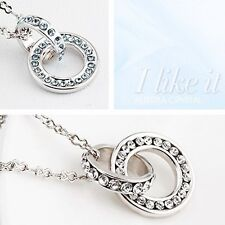 DOUBLE RINGS PENDANT NECKLACE SPARKLING CRYSTAL FOREVER TOGETHER LOVE NECKLACE