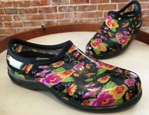 Sloggers Black Floral Pansies Waterproof Garden Comfort Shoes 10 New USA Made