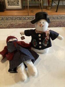 Plush Snowman And Cat Christmas Dolls