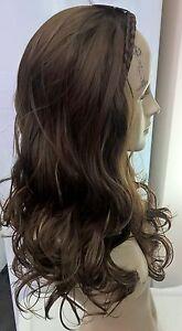 medium natural brown wavy curly half head long hair wig on headband fancy dress