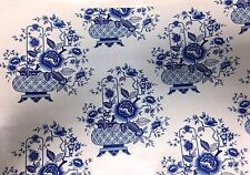 Ceramic decals beautiful Delft blue colors basket floral design Lot of 30