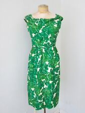 VGC Vtg 50s Rappi Rockabilly Green Floral Sequin Wiggle Bombshell Dress S/M