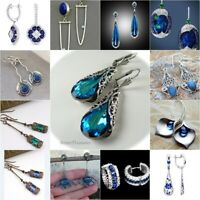 Boho 925 Silver Sapphire Earrings Ear Hook Clip Handmade Women Wedding Jewelry