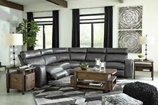 Modern Living Room Sectional - Gray Faux Leather Power Reclining Sofa Set IF1W