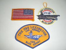 Navy Military CV-16 USS Lexington 3 Patch Lot Live Aboard The Blue Ghost US Flag