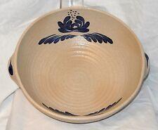 """Vtg Haeger USA Art Pottery Huge Folk Art Hand Crafted Beige/Blue Bowl #186-13.5"""""""
