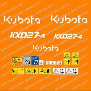KUBOTA KX027-4 DIGGER DECAL STICKER SET