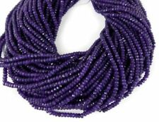 "5 Strands Amethyst Chalcedony Gemstone 4mm Faceted Rondelle Beads 13.5"" Long"