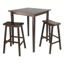Winsome Trading 94300 3pc Kingsgate High Pub Dining Table With Saddle Stool