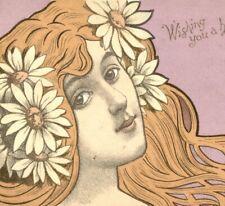 More details for wish you a happy christmas art nouveau lady portrait postcard antique #78