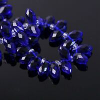 50pcs 12x6mm Teardrop Pendant Faceted Crystal Glass Loose Beads Deep Blue