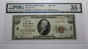 $10 1929 Moravia New York NY National Currency Bank Note Bill Ch. #99 VF35 PMG