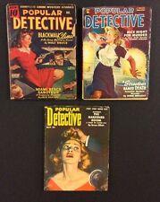3 Vintage POPULAR DETECTIVE Pulp Magazines Dec 1943 Sept 1950 May 1953 Original
