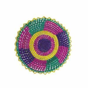 Small Handmade Colourful Woven Shallow Decorative Chabbi For Chapati Bread