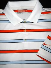 NIKE GOLF POLO SHIRT -L- WHITE BLUE ORANGE STRIPE SOFT STRETCH POLY DRI-FIT
