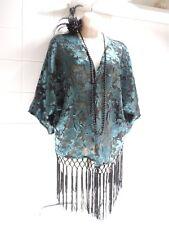 VTG Style 1920s Satin Sheer Fringe Tassel Kimono Flapper Charlestn Bolero Jacket