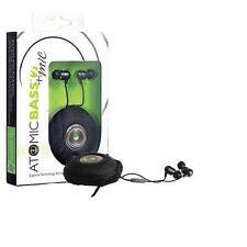 New Radius Atomic Bass 2+Mic Earbuds Black Stereo Earphones Case Mat 411k Nib