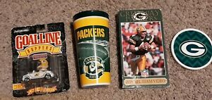 NEW LOT OF 4 GREEN BAY PACKERS ITEMS -  team video, coaster, cup, goal bopper
