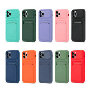 For iPhone 11 12 Pro Max XS XR Slide Lens Silicone Case Wallet Card Holder Cover