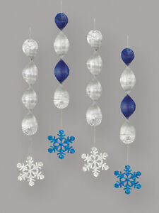 4 x christmas hanging snowflake decorations foil swirls blue & silver