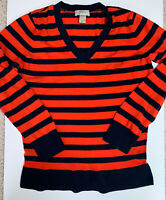 Ann Taylor LOFT Women's Red Blue Striped Cotton Blend Sweater Size L Lightw