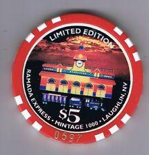 Ramada Express Hotel 10th Anniversary $5.00 Casino Chip Laughlin Nevada 1998