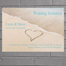 Beach Wedding Evening Day Reception Heart in Sand Invitations x 12 +envs H0327