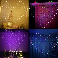 Window Curtain Heart-Shaped Hanging LED Fairy String Lights Xmas Party Decor