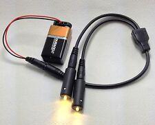 Warm White LED effects Lights & 2-way splitter & 9 volt clip MEL-KIT-2