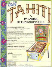 Bally TAHITI Original 1979 NOS Bingo Game Pinball Machine Promo Sales Flyer Adv.