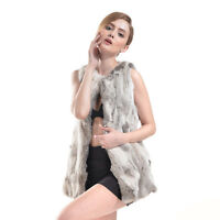 100% Real Rabbit Fur Vest Gilet Fur Coat Waistcoat Women Winter Jacket Dress Hot