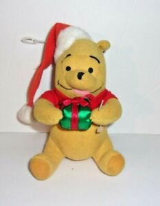"Applause Disney Winnie the Pooh Santa Hat Christmas Present Teddy Bear Mini 5"""