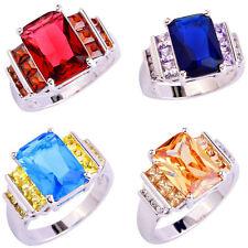 Sapphire Quartz Ruby Spinel Morganite Blue Topaz Gemstone Silver Ring Size 7-10